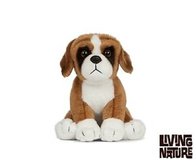 Living Nature Boxer Dog Puppy - An434 Realistic Animal Cuddly Plush Soft Teddy • 10.99£