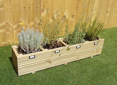 Garden Herb Planter - Wooden Decking Treated Patio Pot Window Box / Small, Large • 35.99£