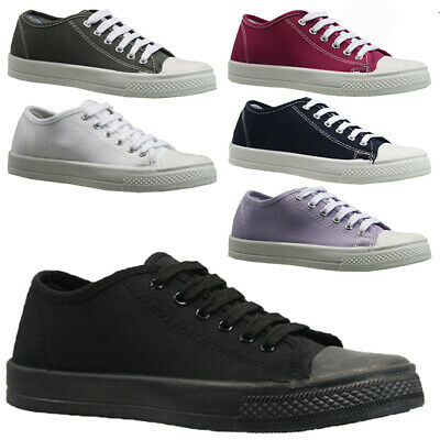 New Ladies Womens Girls Flat Lace Up Plimsolls Pumps Canvas Trainers Shoes Size • 6.95£