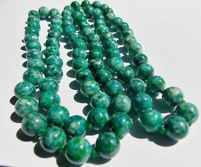$137 • Buy Fine Vintage Blue Green Turquoise 8.5mm Bead 33  Long Necklace Beautiful