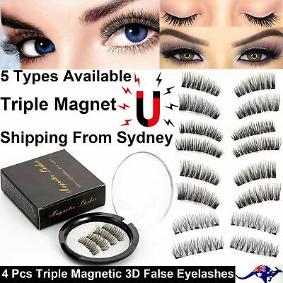 AU7.39 • Buy 4 Pcs/Set 3D Triple Magnetic Eyelashes Handmade Reusable False Magnet Eye Lashes