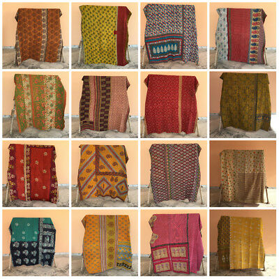 Vintage Indian Handmade Quilt Kantha Bedspread Throw Cotton Blanket Ralli Gudari • 18.99£