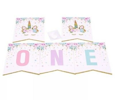 AU12.95 • Buy Sleepy Unicorn 1st One Birthday Banner Bunting Party Decorations Favours First
