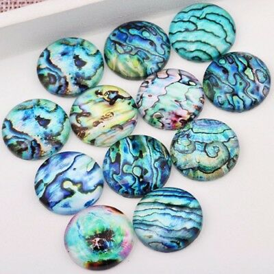 10 Underwater Abalone Cabochons Mixed Round Glass Cabochon Flat Back Ocean Oil • 2.79£