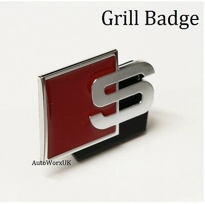 New S Grill Front Badge Emblem Decal Logo Sticker Quattro Red Chrome Line Audi  • 7.95£