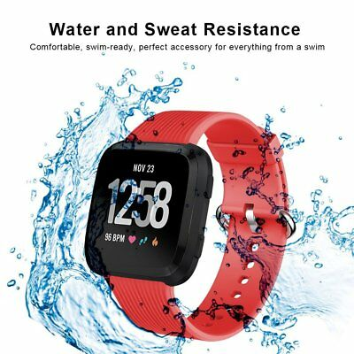 $ CDN24.89 • Buy For Fitbit Versa Band Soft Silicone Comfortable Wristband Metal Buckle Red Strap
