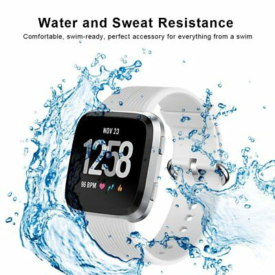 $ CDN19.72 • Buy For Fitbit Versa Band Soft Silicone Comfortable Wristband Metal Buckle Gray New