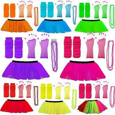 Neon 80s Tutu Set Skirt Leg Warmers Beads Hen Party Fancy Dress Costumes Dance • 6.49£