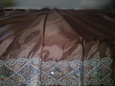 New Silk Saree Beige With Lace Silver Border And Sequinned Blouse • 35£