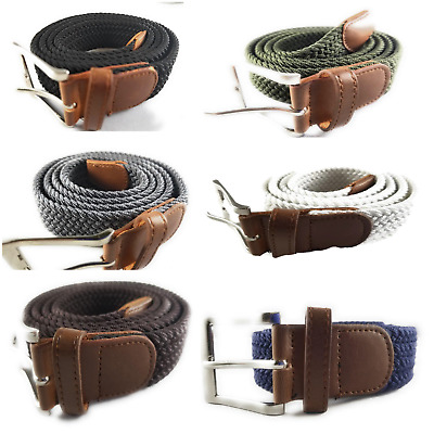 $6.95 • Buy Mens Elastic Braided Web Belt Woven W/ Leather Accents And Silver Square Buckle
