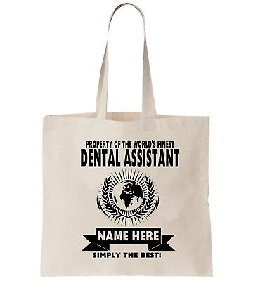 Dental Assistant Personalised Tote Bag Shopper Thanks Amend Birthday Gift Teeth • 5.49£