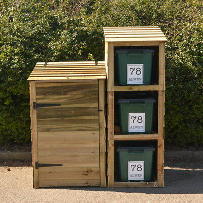Storage For Wheelie Bin And 3 Recycling Bins With 4 FREE Personalised Labels • 299.99£
