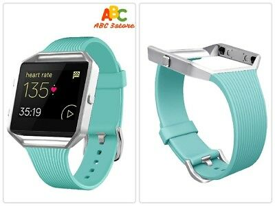 AU27.38 • Buy  Fitbit Blaze Stylish Slim Replacement Band Large/Small Silver Frame/Teal NEW