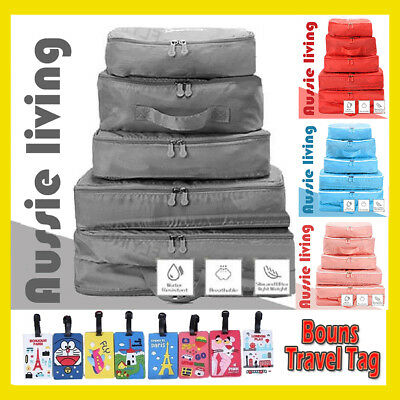 AU10.92 • Buy 5pcs Travel Organizer Packing Cube Pouch Suitcase Clothes Storage Bags Luggage