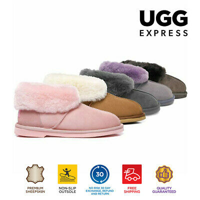 AU20 • Buy [EXTRA15%OFF]UGG Slippers Mallow Sheepskin Collar Ankle Slippers Pink Chestnut