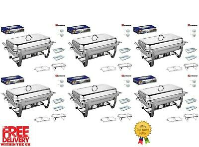 £201.99 • Buy Set Of 6, Single Compartment 9.5L Chafing/Buffet/Party Dishes Or Food Warmer
