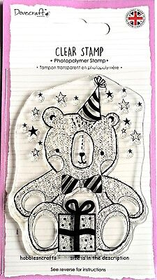 Dovecraft Medium A7 Clear Cling Stamp - Dcstp132 - Teddy Bear Party With Gift • 2.49£