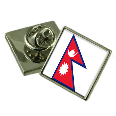Nepal Flag Lapel Pin Badge Solid Silver 925 • 59£