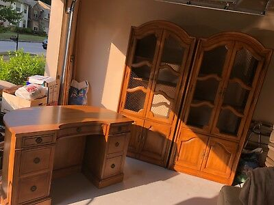 $4500 • Buy Genuine Mahogany Association Inc Cabinet Bookcases And Office Desk