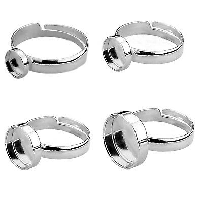 £5.99 • Buy 925 STERLING SILVER ROUND / OVAL ADJUSTABLE RING BLANK SETTING Various Sizes