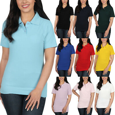 New Ladies Polo Shirt Short Sleeve Womens Plain Pique Classic Top T Shirt Lot • 3.99£