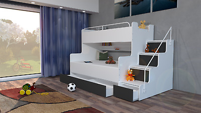 Modern Triple Bunk Bed With Mattresses Bedroom Boy Girl Child Youth Storage • 689£
