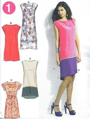 Women's Sleeveless Sheath Tube Dress Sewing Pattern UNCUT XS S M High Low • 3.98£