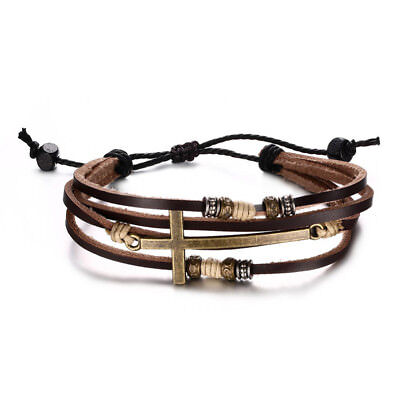$5.99 • Buy Gold Cross Bracelet Bangle For Women Men Rope Chain Leather Bracelet Adjustable