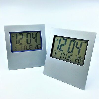 AU17.99 • Buy LCD Digital Silver Table Clock / Wall Clock With Calendar Temperature Alarm