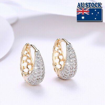 AU9.85 • Buy Elegant 18K Gold Filled CZ Crystal Tear Drop Huggie Hoop Earrings