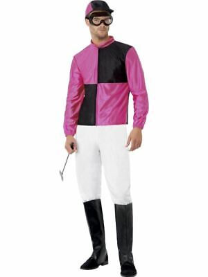 Mens Pink Jockey Costume Horse Riding Grand National Race Fancy Dress Outfit • 33.99£