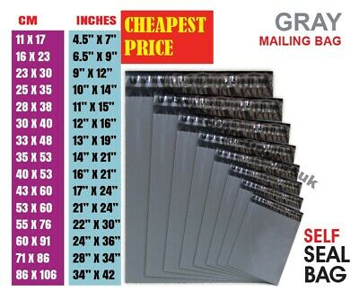 £4.98 • Buy Grey Mailing Bags Strong Poly Postal Postage Post Mail SelfSeal MIXED ALL Sizes