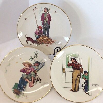 $ CDN42.81 • Buy Norman Rockwell Collector Plates Vtg Grandpa Grandson Relax Fall Fishing China
