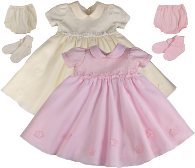 Couche Tot Baby Dress Spanish Girl Knitted Knickers Socks Christening Bridesmaid • 29.99£