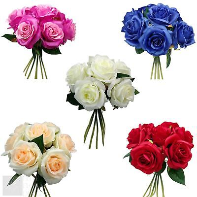 35cm Large Artificial Rose Bouquet Silk Flowers Open Head Floral Wedding • 6.85£