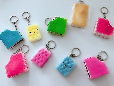 AU6.50 • Buy 2 Slow Rising Scent Biscuit Cookie Squishies Squishy Keyring Squeeze Toy Strap