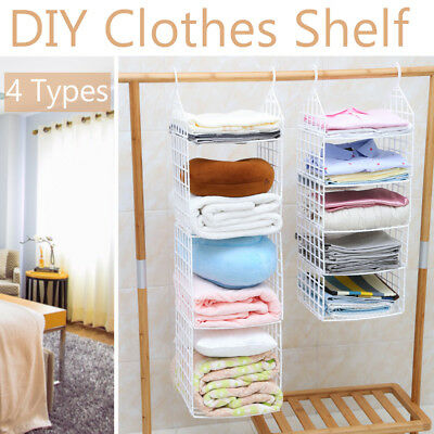 AU22.99 • Buy Wardrobe Storage DIY Hanger Hanging Closet Organizer Clothes Shelf Rack