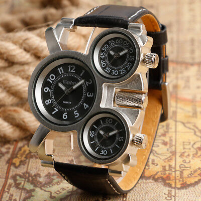 $ CDN17.69 • Buy OULM Mens Military Army Sports Cool 3 Time Zones Movements Quartz Watch Leather