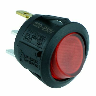 Red Illuminated Round Rocker Switch SPST 230V 10A R13-112B-02 • 1.99£