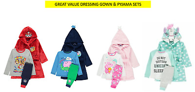 GREAT VALUE Peppa Pig George Paw Patrol Unicorn Dressing Gown & Pyjama's 1-6 YRS • 19.99£
