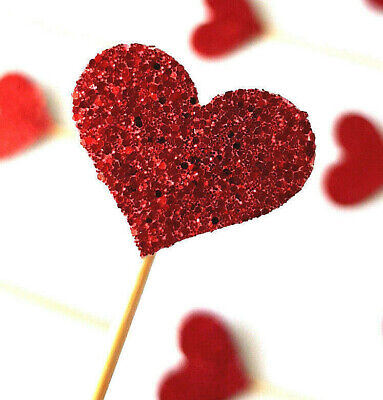 AU4.99 • Buy Red Glitter Heart Cupcake Topper Picks 12 PIECES Valentines Love Decorations