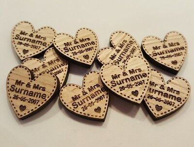 Personalised Wooden Love Hearts Table Decorations Favours Wedding Vintage Rustic • 4.99£