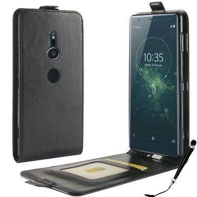 AU9.99 • Buy Black Leather Flip Card Wallet Case Cover For Sony Xperia XZ2 + FREE Stylus