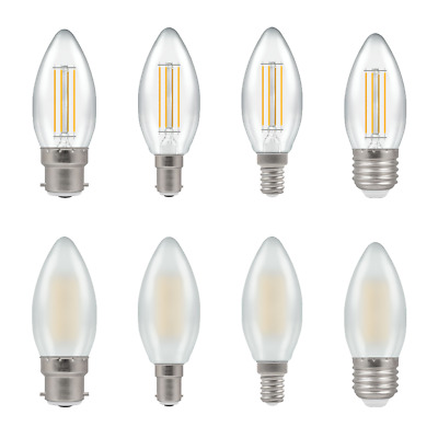 £7.50 • Buy Crompton LED Filament 5W CANDLE Dimmable Lamps - Packs BC ES SES SBC CLEAR+OPAL