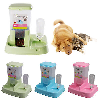 Large Automatic Pet Food Drink Dispenser Dog Cat Feeder Water Bowl Dish 3.5L • 15.99£