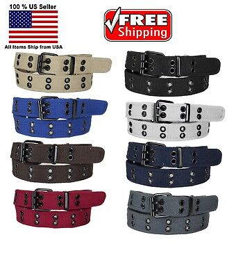 $6.45 • Buy KIDS CHILDREN BOYS GIRLS 2 HOLES ROW GROMMETS Stitched Canvas Fabric Web Belt