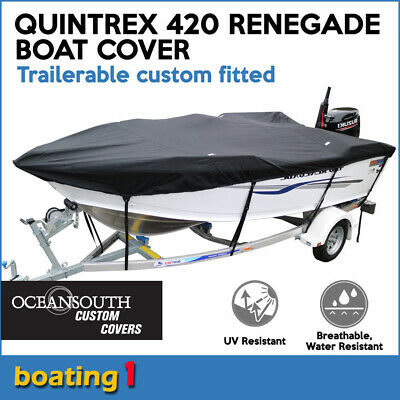 AU169 • Buy Quintrex 420 RENEGADE Trailerable Custom Fitted Boat Cover Open Boat Black