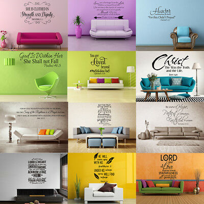 Bible Verse Vinyl Wall Decals Stickers Religious Decor Christian Quote Wall Art • 5.59£