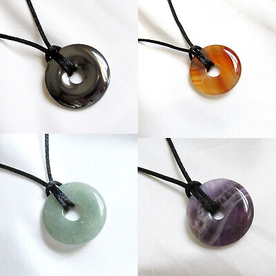Small Round Semi Precious DONUT BEAD PENDANT & Cord Necklace - Choice Of Stones • 5.50£