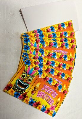 Novelty Invitations Tiki Time 8 Cards & Envelopes Luau Hawaii Tropical Party • 2.82£